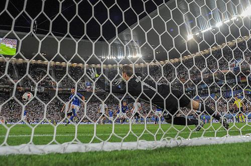 02.07.2016. Bordeaux, France. 2016 European football championships. Quarterfinals match. Germany versus Italy.   Leonardo BONUCCI (ITA) scores from the penalty spot past Neuer for 1:1.