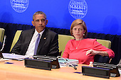 """(L-R) United States President Barack Obama and Samantha Power, United States Ambassador to the United Nations, attend the """"Leader's Summit on Countering ISIL and Countering Violent Extremism"""" at the United Nations Headquarters, New York, New York on September 29, 2015.  <br /> Credit: Anthony Behar / Pool via CNP"""