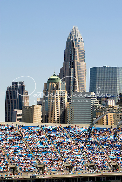 """Bank of America Stadium in downtown Charlotte, NC, is home to the Carolina Panthers. Formerly known as Carolinas Stadium and Ericsson Stadium, the 73,500-seat football stadium was named Bank of America Stadium in 2004. For that reason, many fans now call the stadium """"The Vault,"""" or """"The Bank."""""""