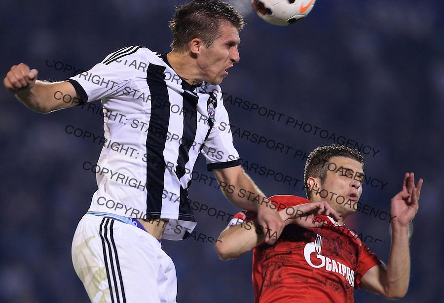 Fudbal Jelen Super League season 2014-2015<br /> Partizan v Crvena Zvezda <br /> Vojislav Stankovic (L) and Darko Lazovic<br /> Beograd, 09.18.2014.<br /> foto: Srdjan Stevanovic/Starsportphoto&copy;