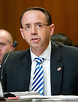 "Rod J. Rosenstein, Deputy Attorney General, United States Department of Justice, gives testimony before the US Senate Committee on Appropriations ""to review the Presidentís Fiscal Year 2018 funding request and budget justification for the U.S. Department of Justice"" on Capitol Hill in Washington, DC on Tuesday, June 13, 2017. Photo Credit: Ron Sachs/CNP/AdMedia"