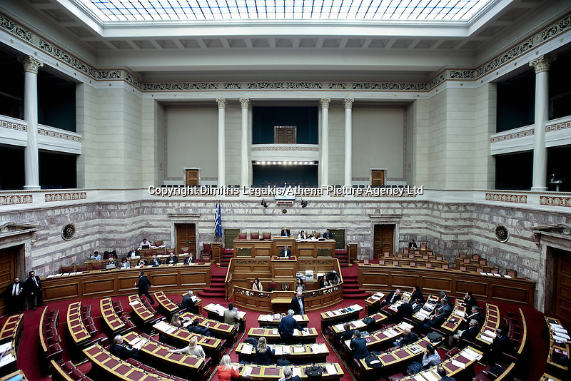 Pictured: The Greek Parliament in session Sunday 08 May 2016<br /> Re: Greek Parliament votes on pension and welfare reforms, Athens, Greece