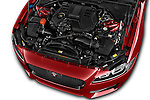 Car Stock 2017 Jaguar XF 35t-R-Sport 4 Door Sedan Engine  high angle detail view