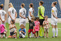 Bridgeview, IL - Sunday August 20, 2017: FC Kansas City Starting XI, player escorts during a regular season National Women's Soccer League (NWSL) match between the Chicago Red Stars and FC Kansas City at Toyota Park. KC Kansas City won 3-1.