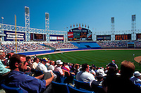 Comisky Park - professional baseball stadium - view of spectators, rear wall and left field. Chicago, Illinois.
