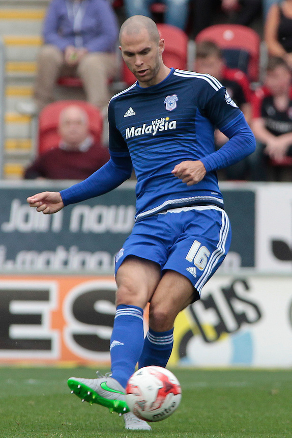 Cardiff City's Matthew Connolly in action during todays match  <br /> <br /> Photographer David Shipman/CameraSport<br /> <br /> Football - The Football League Sky Bet Championship - Rotherham United v Cardiff City - Saturday 19th September 2015 - AESSEAL New York Stadium - Rotherham<br /> <br /> &copy; CameraSport - 43 Linden Ave. Countesthorpe. Leicester. England. LE8 5PG - Tel: +44 (0) 116 277 4147 - admin@camerasport.com - www.camerasport.com