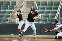 Preston Palmeiro (25) of the Delmarva Shorebirds at bat against the Kannapolis Intimidators at Kannapolis Intimidators Stadium on June 30, 2017 in Kannapolis, North Carolina.  The Shorebirds defeated the Intimidators 6-4.  (Brian Westerholt/Four Seam Images)
