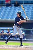 First baseman Alex Abbott (9) of Tift Country High School in  Tifton, Georgia playing for the Atlanta Braves scout team during the East Coast Pro Showcase on July 31, 2013 at NBT Bank Stadium in Syracuse, New York.  (Mike Janes/Four Seam Images)
