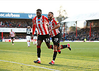 8th February 2020; Griffin Park, London, England; English Championship Football, Brentford FC versus Middlesbrough; Bryan Mbeumo of Brentford celebrates after scoring his sides 2nd goal in the 60th minute to make it 2-1