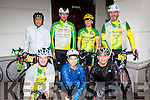 John O'Sullivan, gamy Malasarte, Aileen Ramos,back row: Francisco Silvestre, Patrick o'connor, Mike Leane and Derry O'Sullivan sheltering from the heavy rain at the start of the Ring of Kerry cycle in Killarney on Saturday