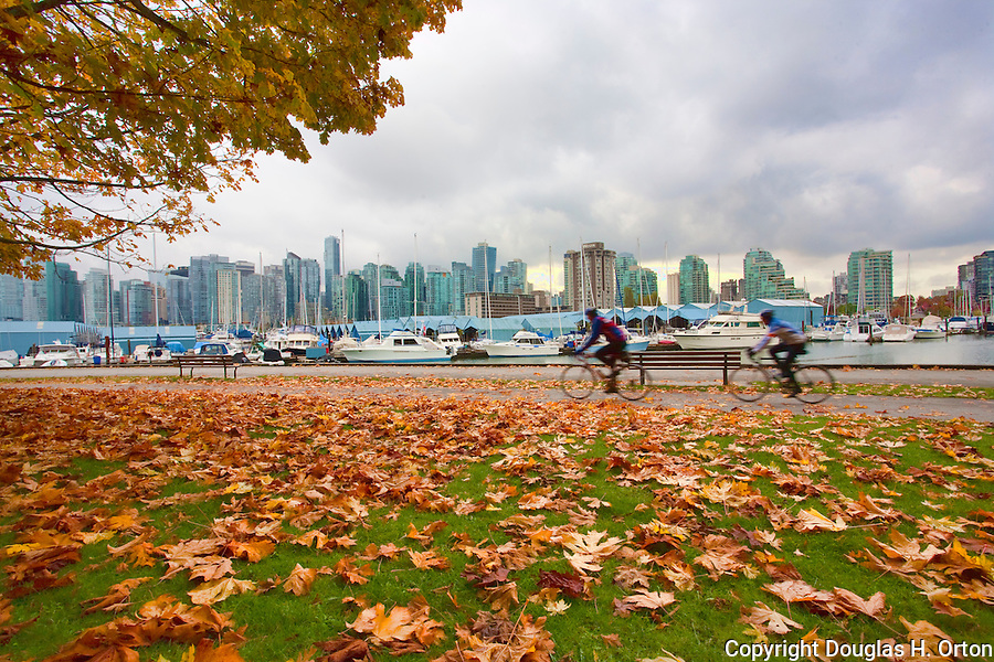 Cyclists Ride Through Stanley Park Vancouver Skyline In
