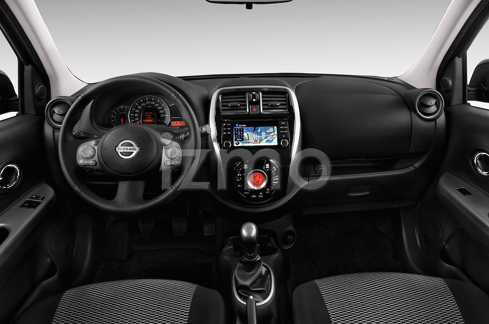 Straight dashboard view of a 2013 - 2014 Nissan MICRA 5 Door Hatchback 2WD