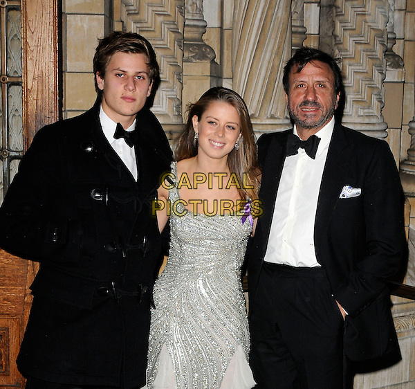 CHARLES FORTE, LYDIA FORTE & SIR ROCCO FORTE .Attending the Sugarplum Ball, Natural History Museum, London, England, UK, November 28th 2009..half length father dad don daughter kids children family brother sister black bow tie tuxedo tux white shirt silver beaded dress grey gray duffel coat toggles  beard facial hair .CAP/CAN.©Can Nguyen/Capital Pictures