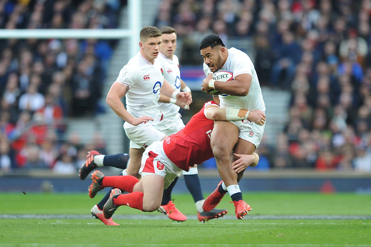 Manu Tuilagi of England in action during the Guinness Six Nations match between England and Wales at Twickenham Stadium on Saturday 7th March 2020 (Photo by Rob Munro/Stewart Communications)