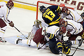 Brendan Silk (BC - 9), Mike Collins (Merrimack - 13), Isaac MacLeod (BC - 7), Vinny Scotti (Merrimack - 25), Patrick Brown (BC - 23), Colin Sullivan (BC - 2) - The Boston College Eagles defeated the visiting Merrimack College Warriors 4-3 on Friday, November 16, 2012, at Kelley Rink in Conte Forum in Chestnut Hill, Massachusetts.
