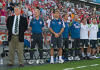 The Seattle Sounders FC coaching and training staff during the opening ceremonies in an MLS game between the Seattle Sounders FC and the Toronto FC at BMO Field in Toronto on June 18, 2011..The Seattle Sounders FC won 1-0.