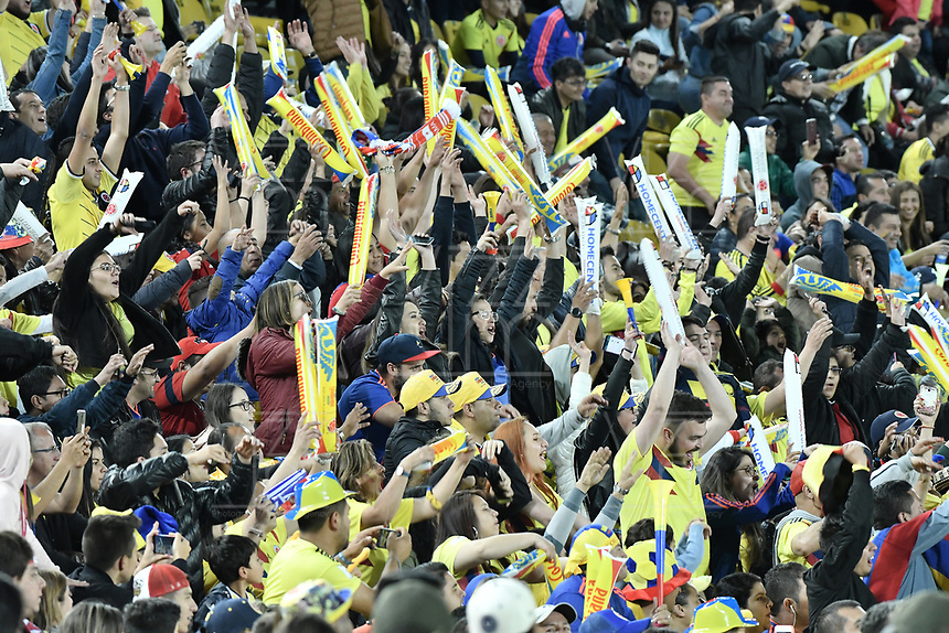 BOGOTA - COLOMBIA, 03-06-2019: Hinchas de Colombia animan a su equipo durante partido amistoso entre Colombia y Panamá jugado en el estadio El Campín en Bogotá, Colombia. / Fans of Colombia cheer for their team during a friendly match between Colombia and Panama played at Estadio El Campin in Bogota, Colombia.. Photo: VizzorImage/ Gabriel Aponte / Staff
