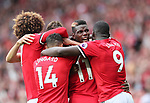 Manchester United's Paul Pogba celebrates scoring his sides fourth goal during the premier league match at Old Trafford Stadium, Manchester. Picture date 13th August 2017. Picture credit should read: David Klein/Sportimage