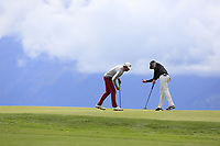 Alexander Bjork (SWE) and Dean Burmester (RSA) on the 7th green during Sunday's Final Round of the 2017 Omega European Masters held at Golf Club Crans-Sur-Sierre, Crans Montana, Switzerland. 10th September 2017.<br /> Picture: Eoin Clarke | Golffile<br /> <br /> <br /> All photos usage must carry mandatory copyright credit (&copy; Golffile | Eoin Clarke)