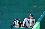 2 July 2011: Burlington American Little Leaguer Josh Wolfstein sits in the stands during batting practice prior to a game between the Vermont Lake Monsters and the Tri-City ValleyCats at Centennial Field in Burlington, Vermont. The Lake Monsters rallied from a 4-2 deficit to defeat the ValletCats 7-4 in NY Penn League action. Mandatory Credit: Ed Wolfstein Photo