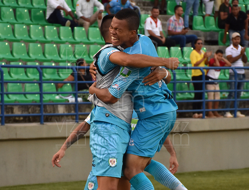 MONTERIA - COLOMBIA, 07-04-2019: Edis Ibarguen de Jaguares celebra después de anotar el segundo gol de su equipo durante el partido por la fecha 14 de la Liga Águila I 2019 entre Jaguares de Córdoba F.C. y Rionegro Águilas jugado en el estadio Jaraguay de la ciudad de Montería. / Edis Ibarguen of Jaguares de Cordoba F.C. celebrates after scoring the second goal of his team during match for the date 14 as part Aguila League I 2019 between Jaguares de Cordoba F.C. and Rionegro Aguilas played at Jaraguay stadium in Monteria city city. Photo: VizzorImage / Andres Felipe Lopez / Cont