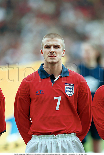 DAVID BECKHAM, ENGLAND 1 v Brazil 1, friendly International, Wembley, 000527. Photo: Glyn Kirk/Action Plus...2000.soccer.football.internationals.association.portrait