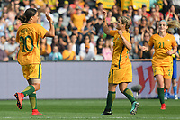 26 November 2017, Melbourne - SAM KERR (20) of Australia celebrates her goal during an international friendly match between the Australian Matildas and China PR at GMHBA Stadium in Geelong, Australia.. Australia won 5-1. Photo Sydney Low