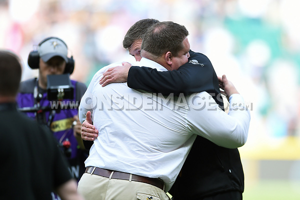 Wasps Director of Rugby Dai Young embraces Exeter Chiefs Director of Rugby Rob Baxter after the match. Aviva Premiership Final, between Wasps and Exeter Chiefs on May 27, 2017 at Twickenham Stadium in London, England. Photo by: Patrick Khachfe / JMP