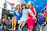 Brooklynn Quinn (San Francisco), Kayla Gray (Arizona) and Emer Fogarty the Kildare Rose at the Rose parade on Sunday..