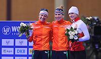 SCHAATSEN: BERLIJN: Sportforum Berlin, 05-12-2014, ISU World Cup, Podium 3000m Ladies Division B, Carien Kleibeuker (NED), Carlijn Achtereekte (NED), Katarzyna  Wozniak (POL), ©foto Martin de Jong