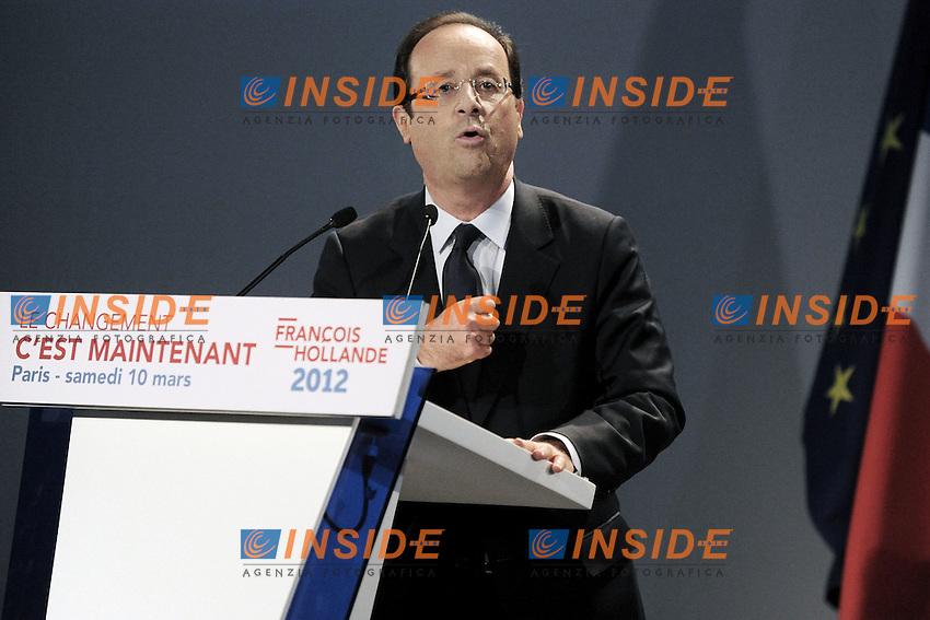 Il candidato del Partito Socialista Francois Hollande .10/03/2012 Parigi Meeting del Partito Socialista francese in vista delle prossime elezioni presidenziali del 2012.Foto Insidefoto /Christian Liewig / FEP / Panoramic.ITALY ONLY
