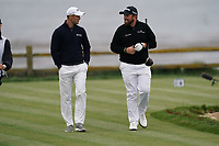Martin Kaymer (GER) and Shane Lowry (IRL) on the 18th tee during the 3rd round of the US Open Championship, Pebel Beach Golf Links, Monterrey, Calafornia, USA. 15/06/2019.<br /> Picture Fran Caffrey / Golffile.ie<br /> <br /> All photo usage must carry mandatory copyright credit (© Golffile | Fran Caffrey)