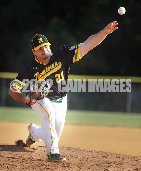 Newtown pitcher Seth Leuz #21 throws a pitch against Bensalem in the first inning Monday June 20, 2016 at Valley Athletic Association in Bensalem, Pennsylvania. Newtown defeated Bensalem 6-5. (Photo by William Thomas Cain)