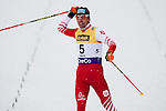 HOLMENKOLLEN, OSLO, NORWAY - March 16: Wilhelm Denifl of Austria (AUT) celebrates his 3rd place at the cross country 15 km (2 x 7.5 km) competition at the FIS Nordic Combined World Cup on March 16, 2013 in Oslo, Norway. (Photo by Dirk Markgraf)