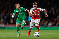Wanderson of Ludogorets Razgrad and Alex Oxlade-Chamberlain of Arsenal during the UEFA Champions League match between Arsenal and PFC Ludogorets Razgrad at the Emirates Stadium, London, England on 19 October 2016. Photo by David Horn / PRiME Media Images.