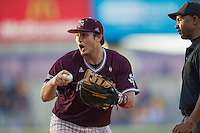 Texas A&M Aggies first baseman Hunter Melton (50) argues with umpire Joseph Smith during the ninth inning of the Southeastern Conference baseball game against the LSU Tigers on April 25, 2015 at Alex Box Stadium in Baton Rouge, Louisiana. Texas A&M defeated LSU 6-2. (Andrew Woolley/Four Seam Images)