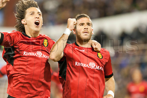 27.04.2013 Zaragoza, Spain. Real Zaragoza  -  RCD Mallorca. Hemed RCD Mallorca striker  and Geromel RCD Mallorca defender  celebrating a goal  during the Spanish La Liga game between Real Zaragoza and RCD Mallorca from the Estadio de La Romareda.