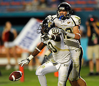 29 November 2008:  FIU wide receiver Jason Frierson (80) and wide receiver Greg Ellingson (82) celebrate Frierson's touchdown reception in the FAU 57-50 overtime victory over FIU in the annual Shula Bowl at Dolphin Stadium in Miami, Florida.