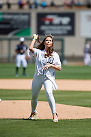 Miss Florida Taylor Tyson throws out the ceremonial first pitch of the Detroit Tigers Grapefruit League Spring Training game against the New York Yankees on February 27, 2019 at Publix Field at Joker Marchant Stadium in Lakeland, Florida.  Yankees defeated the Tigers 10-4 as the game was called after the sixth inning due to rain.  (Mike Janes/Four Seam Images)