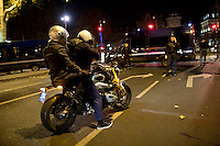 FRANCE, Paris: People on a motorbike are blocked by the police after the shooting in the 10th district in Paris on the 13th November 2015 Shootings and blasts leave at least 120 dead in Paris.