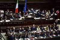 Roma, 29 Aprile 2013.Camera dei Deputati.Il Governo Letta chiede la fiducia alla Camera dei Deputati..Nella foto i banchi dei Ministri