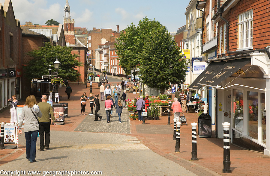 Pedestrian shoppers Cliffe High Street, Lewes, East Sussex, England