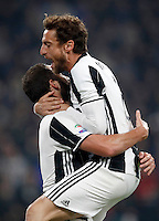 Calcio, Serie A: Juventus Stadium. Torino, Juventus Stadium, 29 ottobre 2016.<br /> Juventus&rsquo; Gonzalo Higuain, left, celebrates with teammate Claudio Marchisio after scoring the winning goal during the Italian Serie A football match between Juventus and Napoli at Turin's Juventus Stadium, 29 October 2016. Juventus won 2-1.<br /> UPDATE IMAGES PRESS/Isabella Bonotto