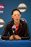 August 2, 2019: Saisai Zheng (CHN) addresses the media after she defeated Amanda Anisimova (USA) 5-7, 7-5, 6-4 in the quarterfinals of the Mubadala Silicon Valley Classic at San Jose State in San Jose, California. ©Mal Taam/TennisClix/CSM