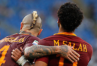 Calcio, Serie A: Roma vs Udinese. Roma, stadio Olimpico, 20 agosto 2016.<br /> Roma&rsquo;s Mohamed Salah, right, celebrates with teammate Radja Nainggolan after scoring during the Italian Serie A football match between Roma and Udinese at Rome's Olympic Stadium, 20 August 2016. Roma won 4-0.<br /> UPDATE IMAGES PRESS/Riccardo De Luca