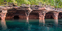 Sea Caves on the Apostle Islands National Lakeshore near Bayfield Wisconsin.