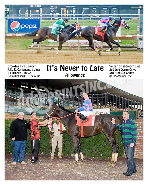 It's Never Too Late winning at Delaware Park on 10/25/12