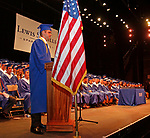 Torrington, CT 062117MK07 Class president Kevin Kryzwick addresses his classmates during the Lewis Mills High School commencement exercises at the Warner Theatre in Torrington on Wednesday night. Michael Kabelka / Republican-American