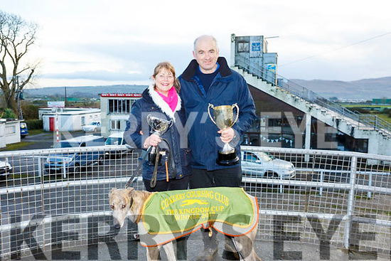Skellig Shane winner of the Kingdom Cup at Ballybeggan Track on Wednesday last with the O'Driscoll family, Rose and Tim.