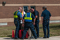 Westerville, Genoa and Ohio State university police officers and the Westerville Fire Department train at a high school to refine their procedures and policies for school violence.